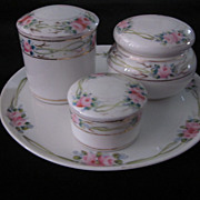 Hand Painted Nippon Dresser Set, Pink, Green, Gold