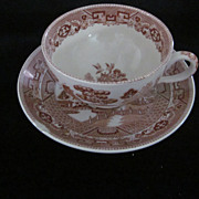 """The Red Derby"" , Buffalo China, Red Willow Cup & Saucer"