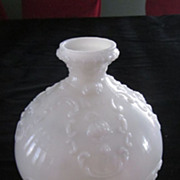 Round Pinched Neck Milk Glass Vase