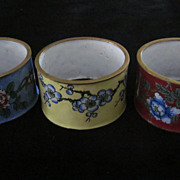Oriental Hand Painted Enamel Napkin Rings, Set of 10