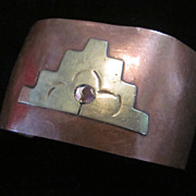 Vintage Mexican Mixes Metal, Copper and Silver Cuff Bracelet