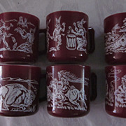 Hazel Atlas Milkglass Indian Motif Coffee Mugs, Set of 6