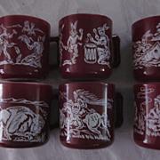 Hazel Atlas Milkglass Indian Motif Coffee Mugs, Set of 6