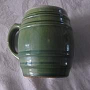 Two Heavy Green Stoneware Barrel Mugs w/ White Crazed Interiors