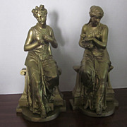 "Signed Boulet,  French, Gilt Over Spelter, 13"" Figurines, Pair"