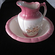 Iron Ware Dusty Rose and White, Putti Decorated Bowl and Pitcher