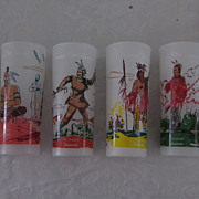 Famous Ohio Indians Frosted Glasses Bonded Petroleum, Set of 6