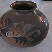 "Large, 8"" X 12"", Pueblo Buff, Black, White, and Red Olla"