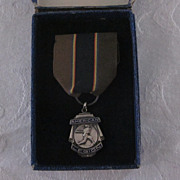 Vintage Sterling American Legion Baseball Medal with Ribbon, Box