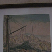 Bela Sziklay Signed Hand Colored Etching, Amalfi Coast