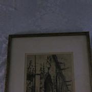 "Edgar Chahine Etching/Aquatint, ""St. Germain L' Auxerrois, Paris"""