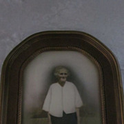 "Hand Tinted ""Granny"" Photo in Oval Bubble Glass Frame"