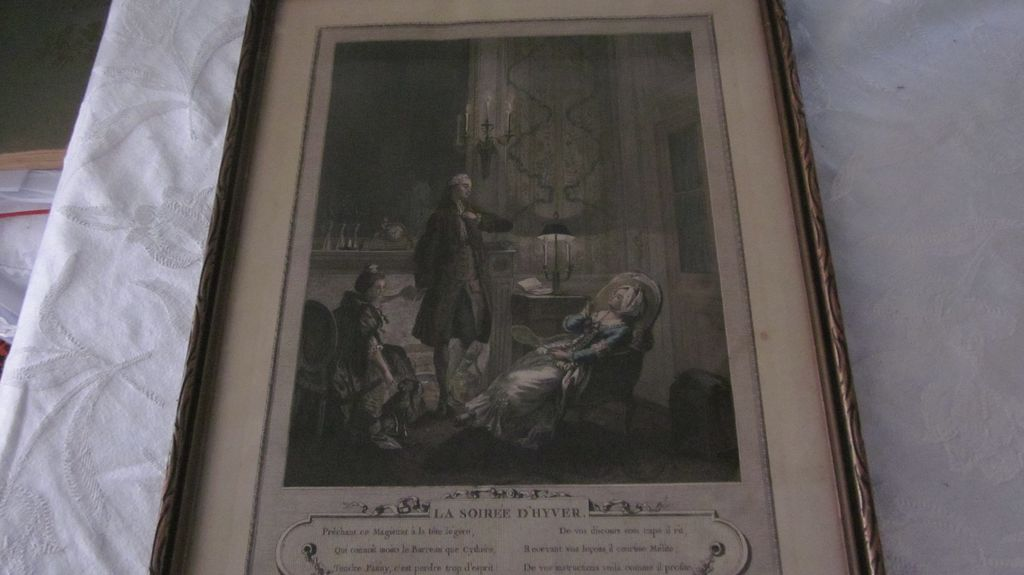 "Hand Colored French Print ""La Soiree D'Hyver"", Freudeberg"