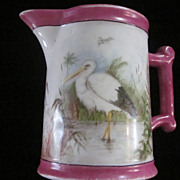 Ironstone Pitcher, Hand Painted Heron and Swan