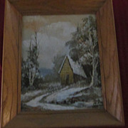 T. Aleen Cabin In Winter Oil Painting