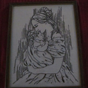 Framed Needlepoint Black on White, Woman Holding Baby