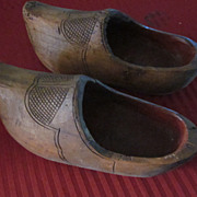 Vintage Line Carved Dutch Wooden Shoes, Pair