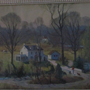 "Leith Ross Framed Lithograph of Farm House, 13"" X 19"""
