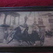 Victorian Framed Lithograph of Victorious Roman Chariot Returning