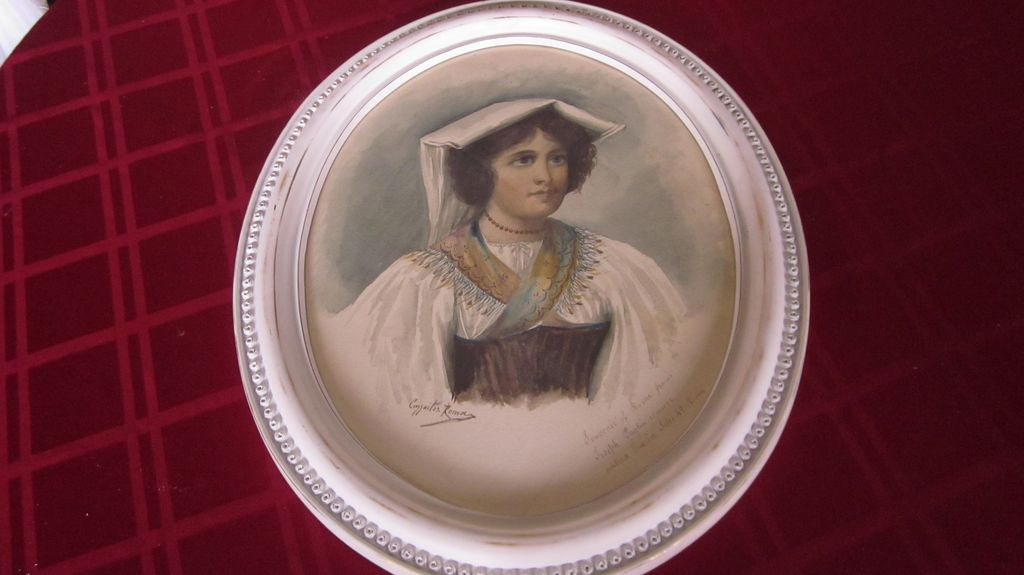 Oval Framed Watercolor Souvenir Portrait of Italian Woman