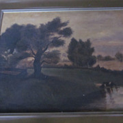 Vintage oil Painting, Lakefront Scene