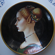L'Incognita, A. Pollaiolo, Italy, Hand Decorated Portrait Plate, 4""