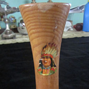Vintage Souvenir Wooden Vase w/ Indian Brave, Old Forge, NY