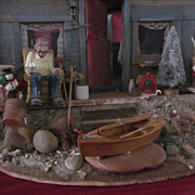 Vintage Miniature Folk Art Beach/Lake Cottage Diorama, Filled