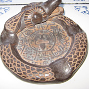 Amazing Hand Made Brown Ceramic Aztec  Quetzalcoatl Ashtray