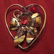 Sterling Silver Vermeil Heart Shaped Pin with Bow and Red Stones