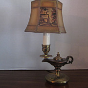 Vintage Small Brass Genie Lamp with Original Decorated Shade