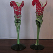 Pair Hand Blown Red, White, Green Art Glass Bud Vases