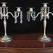 Silver Plated Three Light Candle Holders with Crystals