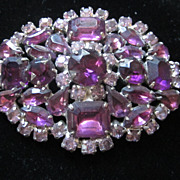 Amethyst and Crystal Rhinestone Pin