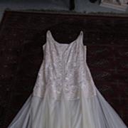 Carmen Marc Valvo Dress, Ecru Embroidered Bodice, Tulle Skirt, 12