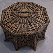 Victorian Wicker Sewing Box, Unusual Octagonal Shape, As Is