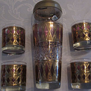 Hollywood Regency Gold, Lavender, Glass Cocktail Shaker, 4 Glasses