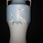 Hand Painted Nippon Crane Vase
