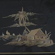 Oriental Woven Bamboo Waterfront Scene