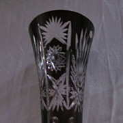 "Bohemian Glass Ruby Cut to Clear 12 1/4"" Vase"