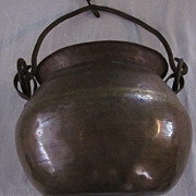 Hand Wrought Copper Pot with Iron Bail and Hanger