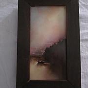 """Hudson River School Oil Painting On Tile, Signed """"E. L. B."""","""