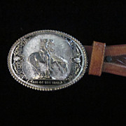 End Of The Trail, Heavy Oval Buckle on Larry Mahan Leather Belt