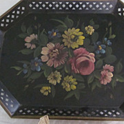Black Tole Painted Tray, Rolled Edges, Pierced Sides