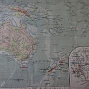 """Antique """"Oceania Fisica"""", G. Pennesi Map, Australia/Micronesia"""