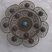Vintage, Handmade, Brass Filigree, Turquoise, Coral Cabochon Dish