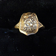 G MAN, Brass Child's Ring, 1930's Cracker Jack Premium