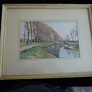 Lovely Riverside Water Color by Marc