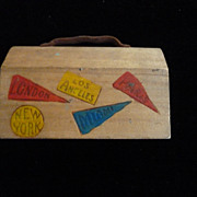 Wooden Souvenir Dime Bank, Suitcase