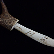 Inuit Bone and Horn Signed Scrimshaw  Dagger